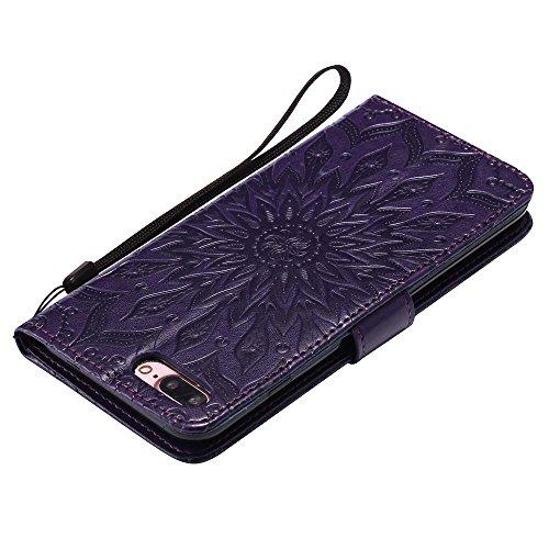 Custodia iPhone 8 Plus, cmdkd Wallet Custodia Bumper per iPhone 8 Plus. (Pink) Porpora