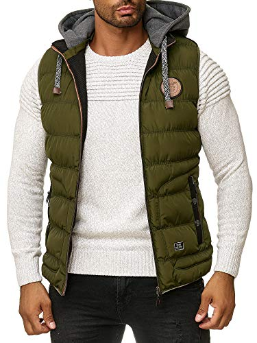 Blackrock Herren Outdoor-Weste - Slim-Fit - Abnehmbare Kapuze und Stehkragen - Moderne Stepp-Weste - Khaki XL -