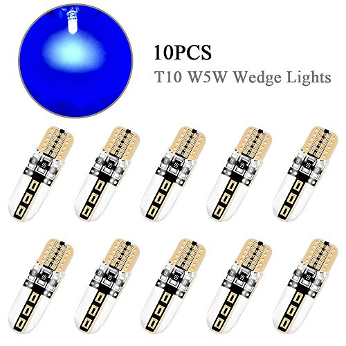 10 PZ Blu T10 W5W 194 168 Lampadine a LED Luci esterne per interni auto COB CANBUS Luci laterali a cuneo luminoso Luce per luci di posizione, targa, cruscotto, bagagliaio, luci di parcheggio