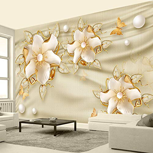 Seide Luxus Streifen (Individuelle Fototapete 3D Luxus Goldene Schmuck Blumen Seide Schmuck Wandbild Hochzeitszimmer Schlafzimmer Wohnzimmer Vliestapete)