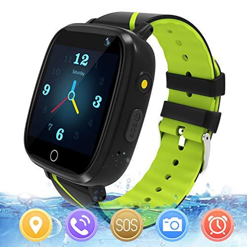 GPS Smartwatch Kinder - Uhr Telefon Jungen Mädchen Kinder wasserdichte Smartwatch GPS LBS mit Anruf Voice Chat SOS Kamera Spiel Taschenlampe Wecker(Schwarz)