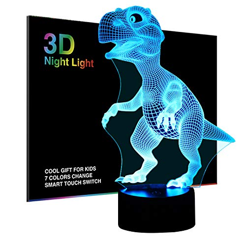 Led Night Lights Hottest 7 Color Flashing Acrylic 3d Dinosaur Night Light Usb Charger Crack Base Gradient Led Bedroom Lamp Gift For Children Yet Not Vulgar