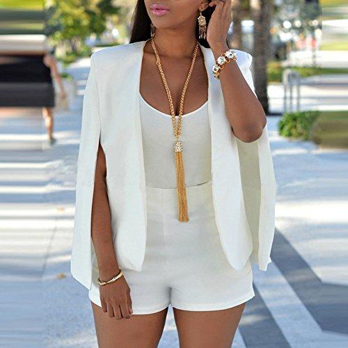 Women Blazer Waistcoat Vest Top - Ladies Solid Color Open Front sans manches Short Duster Coat Suit Jacket Coat Gilet Cardigan Plus Size - hibote Blanc