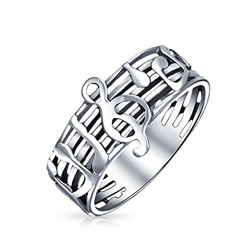 Bling Jewelry Sterling Silver notas musicales G Anillo clef agudo