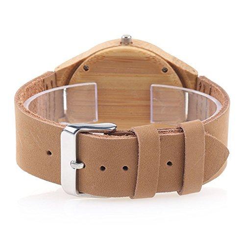 Bambus-Holzuhr mit Echtem Lederband Japanische Quarzwerk - Damen (Braun 4) - 5