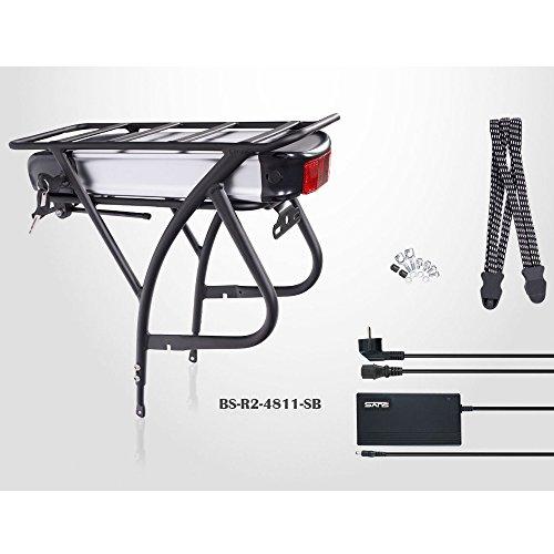 "E-Bike Akku Kit, 26\"" - 28\"", 48V 11Ah (528Wh!) Akku, Gepäckträger, silber/schwarz"