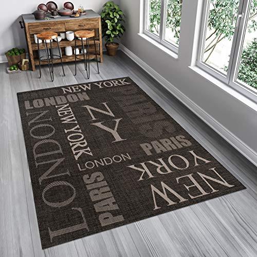 Tapiso FLOORLUX Teppich Sisal Optik Flachgewebe Modern Schwarz Grau Taupe Schrift Buchstaben Design Wohnzimmer Küche Flur Indoor 80 x 150 cm -