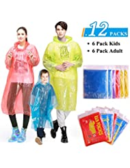 GINMIC Rain Ponchos Family Pack - Emergency Waterproof Ponchos for Kids and Adults, Assorted Colors, Extra Thick 0.03mm, Disposable Emergency Rain Ponchos for Family Travel, Camping, Hiking, Fishing