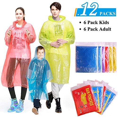 inweg, Regen Poncho Familienpackung Mit Kapuze - 6 Stück für Erwachsene und 6 Stück für Kinder für Fahrradfahren, Camping, Ihre Freizeit ()