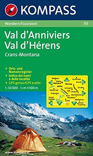 Val d'Anniviers, Montana, Val d'Hérens 115 wp komp. par Kompass-Karten