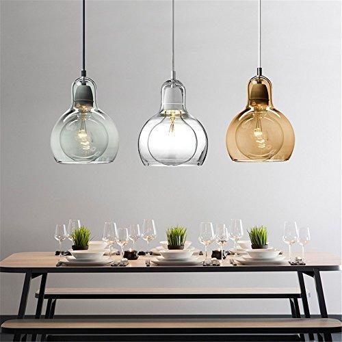 cwill moderne Globe Verre Pendel Lampe de cuisine Grande lampe Lampe Ombre Lampe hänge Home Leuchten Cafe Bar hänge Lampe, Cleer, D11cm H16.5cm, E27