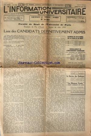 INFORMATION UNIVERSITAIRE (L') [No 1144] du 26/06/1943 - FACULTE DE DROIT DE L'UNIVERSITE DE PARIS - SESSION DE JUIN 1943 - LISTE DES CANDIDATS ADMIS