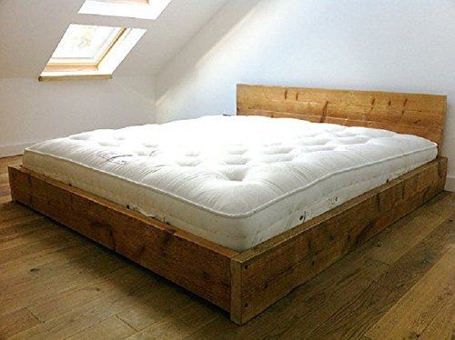 HANDMADE RUSTIC SOLID REDWOOD PINE WOOD SCAFFOLD BOARD PANEL BED FRAME IN SINGLE DOUBLE SUPER KING SIZE