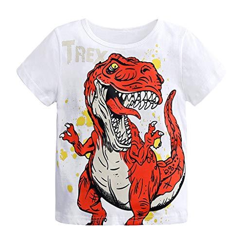 kleidung,Kleinkind Baby Jungen Kurzarm Cartoon Dinosaur Print Tops T-Shirt Kleidung Kurzärmliges Kinder T-Shirt mit Buchstabendruck,Sommerkleidung ()
