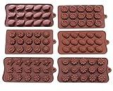 Bekith Lot de 6moules en silicone Candy antiadhésif-Moules en silicone pour chocolat Jelly Bonbons gâteau DIY-Moules à chocolat Moules en silicone Candy Moule