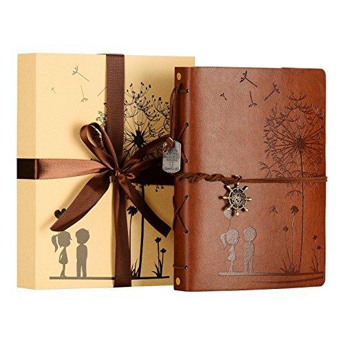Zeeyuan album foto, memory scrapbook dente di leone morbida pelle album fotografico vintage famiglia libro speciale di natale di san valentino regali di compleanno unico regalo per le donne (marrone)