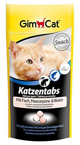 GimCat Katzentabs mit Fisch, Mascarpone und Biotin, Köstlicher Snack für Katzen mit funktionalen Inhaltsstoffen, Für glänzendes Fell und geschmeidige Haut, 3er Pack (3 x 40 g)