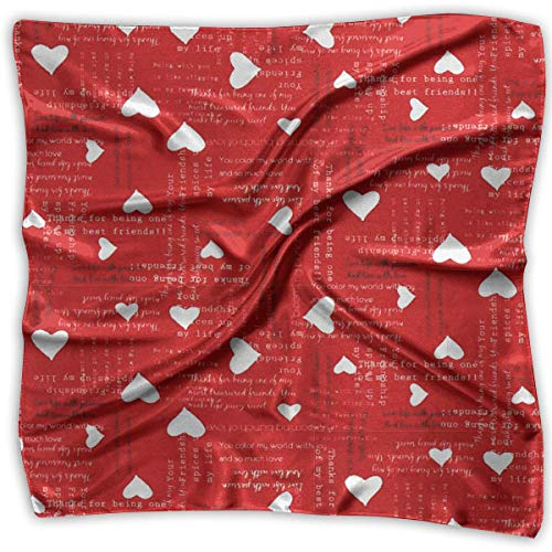 Square Satin Scarf Heart Pattern Silk Like Lightweight Bandanas Head Wrap Neck Shawl Headscarf Satin Boys Band