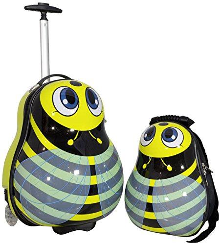 Kinder Mädchen Jungen Reise Koffer Set mit Hartschalen Rucksack und Trolley für Kindergarten Ausflüge Urlaub (Biene)