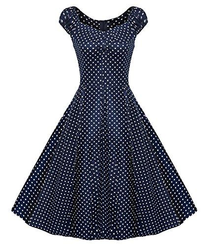 Bbonlinedress modèle 9 Vintage rétro Audrey Hepburn robe de soirée cocktail années 50 forme princesse Navy White Dot