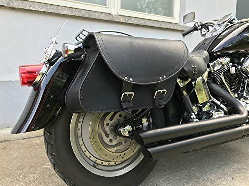 BASIC BAGS BLACK Satteltaschen SET Harley Davidson Bikertaschen Taschen Koffer Seitentaschen Leder Fatboy Breakout Chopper Custom Heritage HD groß Seitenkoffer Marke: Orletanos 2 x 18L Volumen Taschen