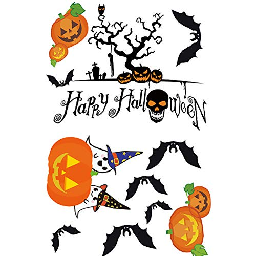 Naisicatar Pumpkin Patch Fensterbilder Aufkleber Skeleton Aufkleber Halloween-Dekorationen Ornamente Party Supplies (1 Sheet) Fröhliches Halloween