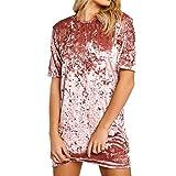 Bawar Damen Samtkleider Mini Cocktailkleid Kurzarm Abendkleid A-Linie T-Shirt Partykleid (M, Rosa)