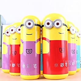 Funny Teddy Minions Shape Pencil Box Having Sketch Pen/Stationary Kit – 12 Pens | Birthday Party Return Gift for Kids