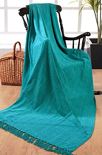 Elite Home Collection - Coperta di ciniglia, 100% poliestere, per divani a 3 posti o letti matrimoniali, 225 x 250 cm, colore: Blu foglia di tè