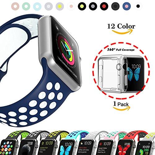 Chok Idea - Correa de reloj de repuesto para Apple Watch Serie 1, Serie 2, Serie 3, 38/42mm, con cobertura completa de 360° de TPU transparente, color Blue-White