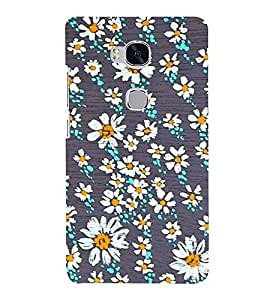 PrintVisa White Flower Pattern 3D Hard Polycarbonate Designer Back Case Cover for Huawei Honor 4X :: Huawei Glory Play 4X