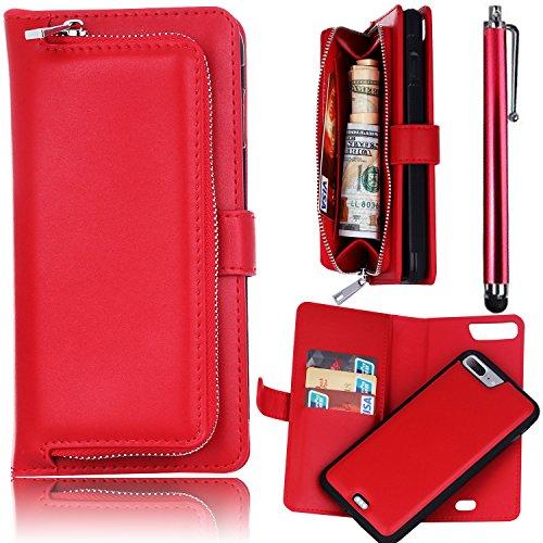 Wallet Case, iPhone 7 Plus 5.5 inch Funda, Bonice Folio Cremallera Cover Multifunción Monedero Carcasa Premium PU Cuero Magnético Desmontable Ranuras para tarjetas Soporte Plegable - Rojo