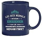 Geschenk zum Geburtstag Jubiläums Abschied bedruckte Kaffeetasse Bürotasse mit Spruch Motiv Leg Dich niemals mit einem Erzieher an, Größe: onesize,blau
