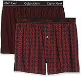 Calvin Klein Underwear Herren Boxershorts 2p Slim Fit Boxer, 2er Pack, Rot (Madison Check M Red/Bridge Stripe B Jhw), Large