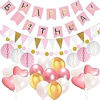 acetek Geburtstag Party Dekorationen, Happy Birthday 13 Buchstaben Banner Fahnen, 15 Triangle Bunting Flags, 6 Seidenpapier Pompom Balls, 17 Luftballons, 400cm String Polka Dot Garland für Mädchen, rosa weiß