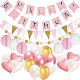 Acetek Décorations Anniversaire Articles de fête, Happy Birthday 13 lettres Bannière Drapeaux, 15 Triangle Bruant Drapeaux, 6 Papier de soie Boules de pompon, 17 ballons, 400cm Chaîne Guirlande à pois pour les filles