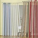 heimtexland Gardinen Schlaufenschal Vorhang Effektorganza mit Webstreifen, Farbe Rot, Höhe 235cm x Breite 130cm Typ127