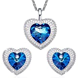 SILYHEART Herz Anhänger Halskette Ohrringe Schmuck Set Modeschmuck für Damen mit Swarovski Kristallen Herz des Ozeans