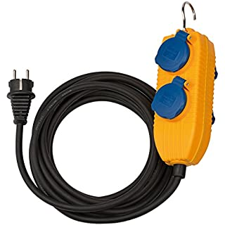 Brennenstuhl 1169200010 Baustellenkabel IP54 mit Powerblock 5m schwarz H07RN-F3G1,5 Gelb
