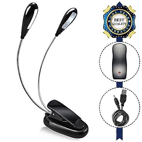 AFUNTA rechargeable à double tête livre lampe avec clip et long bras réglable lecture dimmable pratique et portable pour travailler le lit de lecture conduit