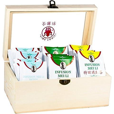 Coffret en bois Meili - Assortiment de 3 thés MINCEUR - Coffret de 3 x 16 sachets de 1,5g