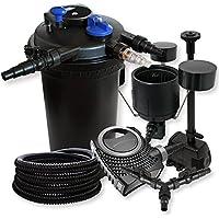 SunSun Kit Filtración estanque a presión (30000L 18W UVC neo1000080W bomba 25m manguera skimmer fuente