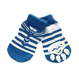 PanDaDa 4PCS Chaussettes Anti-Slip Elastique en Coton Protection de Pattes pour Chat Chaton Chien Chiot