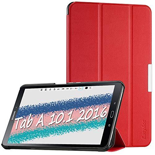 EasyAcc Cover Custodia per Samsung Galaxy Tab A 10.1, Ultra Sottile Smart Cover in Pelle con Sonno/Sveglia la Funzione Compatibile per Samsung Galaxy Tab A 10.1 (2016) SM-T580 / T585 - Rosso