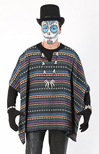 KarnevalsTeufel Poncho-Set mit Zylinder, Mexikaner, Dia DE LOS Muertos, Kostüm-Set