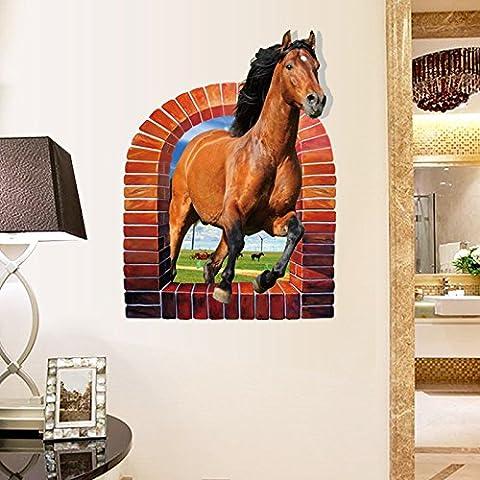 Cavallo 3D sfondo Wall stickers Wall stickers lettino in camera creative decorazione home-camera da letto tre-adesivi dimensionale,58*75cm