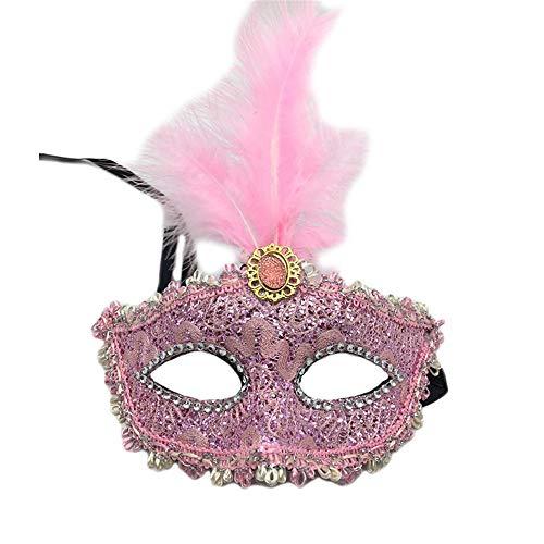 NUOKAI Halloween Maske Maskerade Prinzessin Feder Maske Spitze Drachen Muster halbe Gesicht Augenbinde weiblich Party Maske, ()
