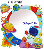 alles-meine.de GmbH 3-D Effekt _ Kinder Spiegel / Wandspiegel mit Spiegelfolie -  Weltraum - Rake..