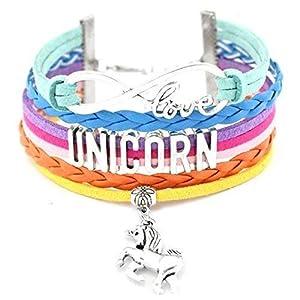 Einhorn Armband bunt Regenbogen-Farben love Unicorn Charm Lederarmband geflochten mehrreihig handmade Mädchen Trend