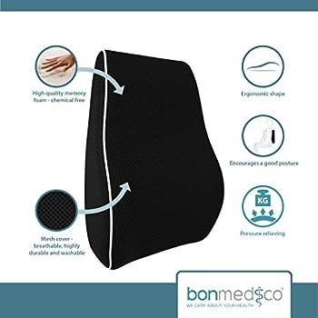 bonmedico® Coussin orthopédique appui support dorsal soutien lombaire maux de dos, maternité, grossesse, format voyage, pour voiture, maison, bureau